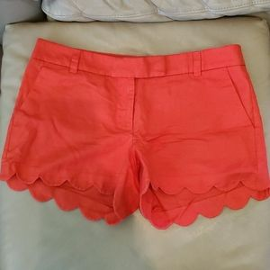 Red Scalloped JCrew Shorts